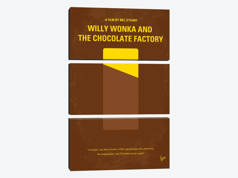 Willy Wonka And The Chocolate Factory Minimal Movie Poster by Chungkong 3-piece Canvas Print