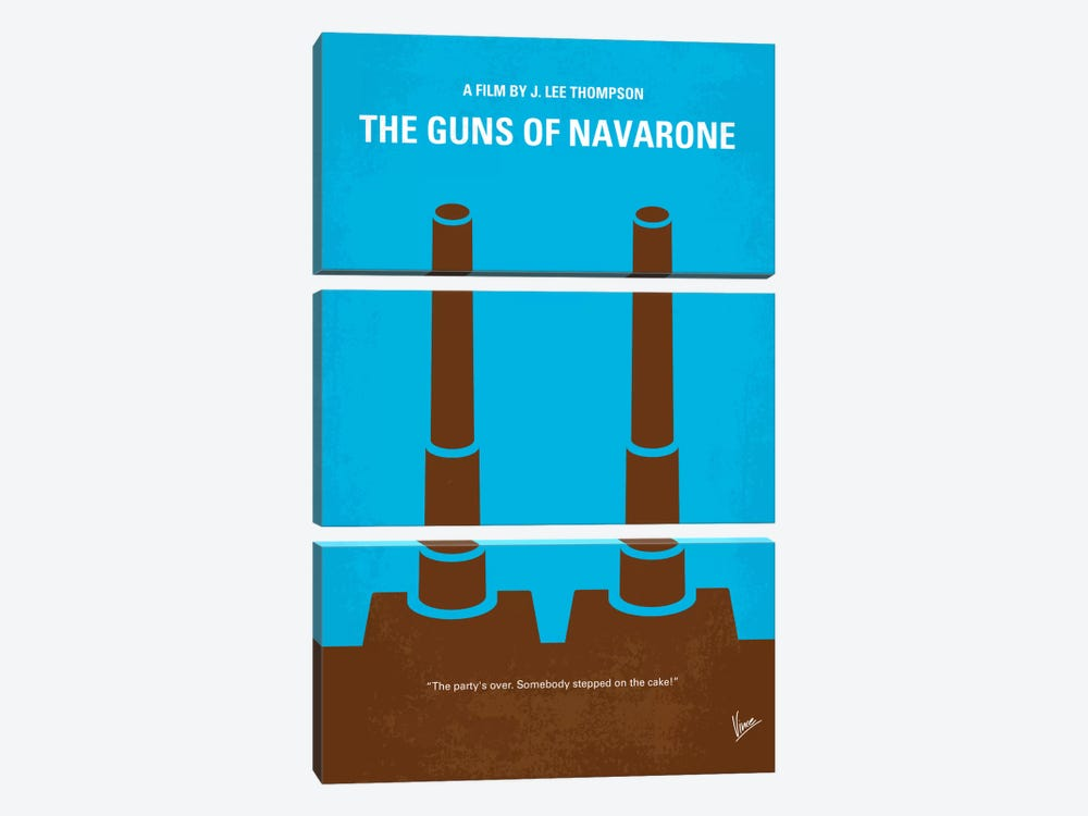 The Guns Of Navarone Minimal Movie Poster by Chungkong 3-piece Canvas Artwork
