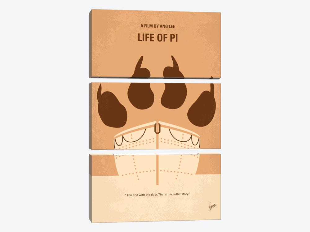 Life Of Pi Minimal Movie Poster 3-piece Canvas Art