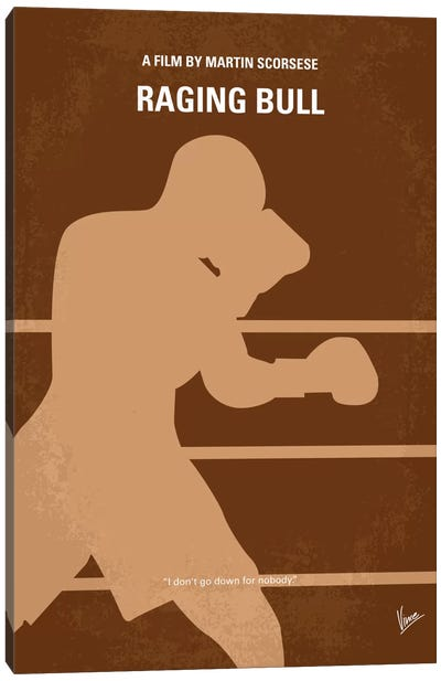Raging Bull Minimal Movie Poster Canvas Art Print