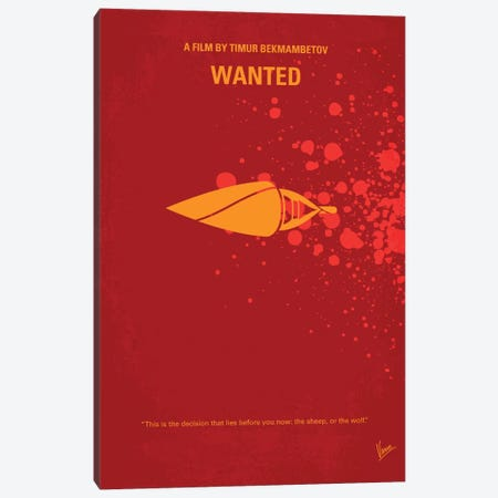 Wanted Minimal Movie Poster Canvas Print #CKG186} by Chungkong Canvas Art Print