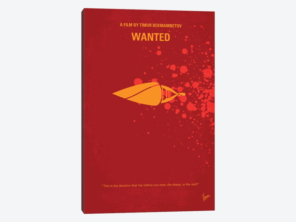 Wanted Minimal Movie Poster by Chungkong 1-piece Canvas Art
