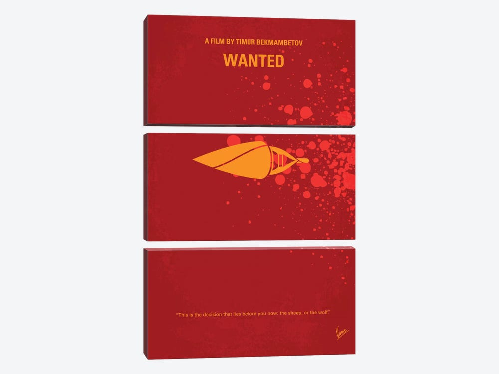 Wanted Minimal Movie Poster by Chungkong 3-piece Canvas Artwork