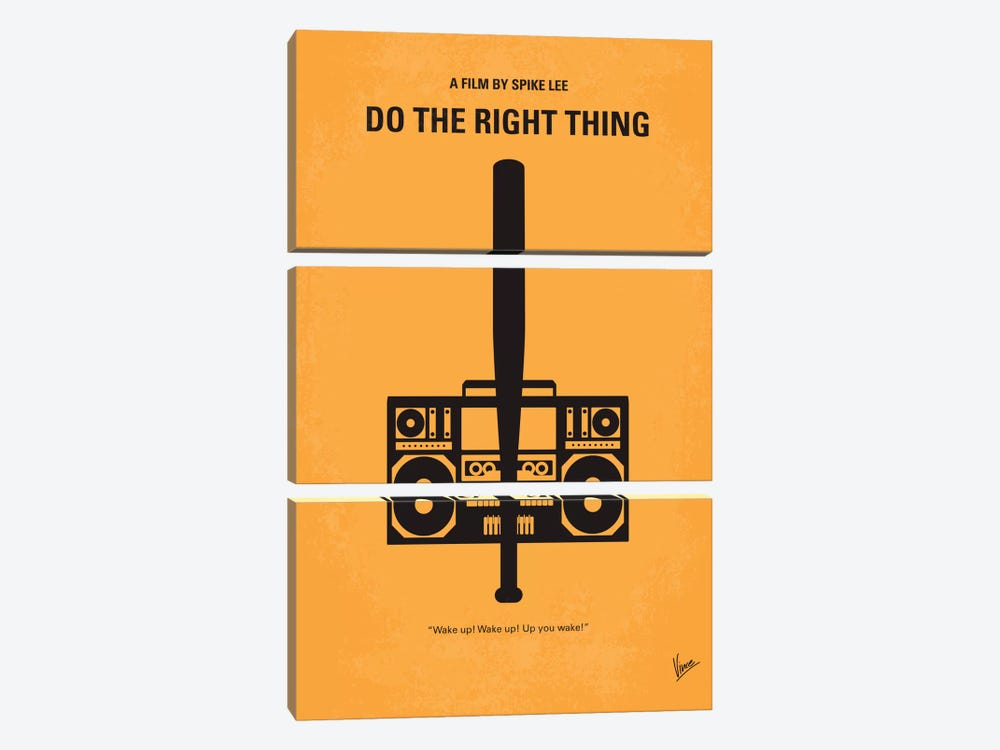 Do The Right Thing Minimal Movie Poster by Chungkong 3-piece Canvas Art Print