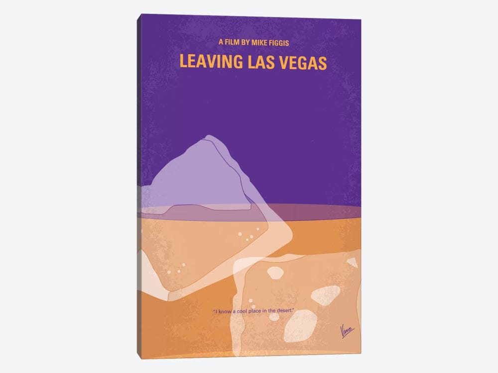 Leaving Las Vegas Minimal Movie Poster by Chungkong 1-piece Canvas Print