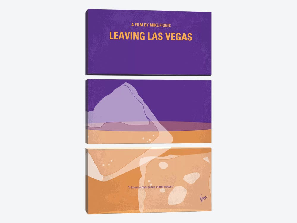 Leaving Las Vegas Minimal Movie Poster by Chungkong 3-piece Canvas Art Print