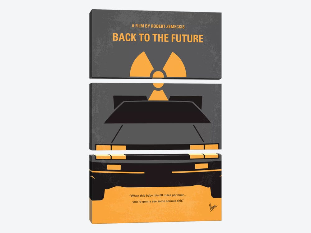 Back To The Future Minimal Movie Poster by Chungkong 3-piece Canvas Print