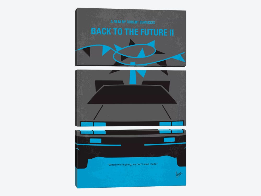 Back To The Future II Minimal Movie Poster by Chungkong 3-piece Canvas Artwork