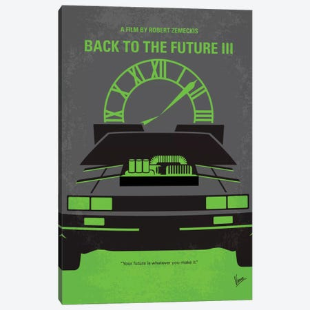 Back To The Future III Minimal Movie Poster Canvas Print #CKG194} by Chungkong Canvas Artwork