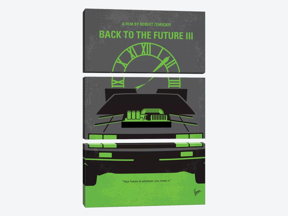 Back To The Future III Minimal Movie Poster by Chungkong 3-piece Canvas Print