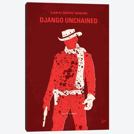 Django Unchained Minimal Movie Poster Canvas Print #CKG195} by Chungkong Canvas Artwork