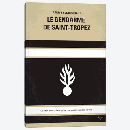 Le Gendarme de Saint-Tropez Minimal Movie Poster Canvas Print #CKG197} by Chungkong Canvas Artwork
