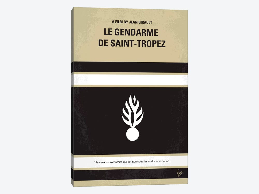 Le Gendarme de Saint-Tropez Minimal Movie Poster by Chungkong 1-piece Canvas Artwork