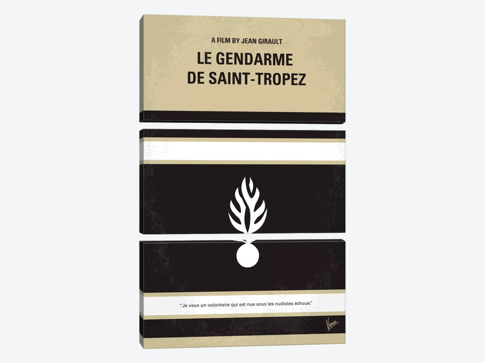 Le Gendarme De Saint-tropez Minimal Movie Poster 3-piece Canvas Wall Art