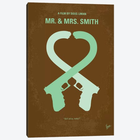 Mr. And Mrs. Smith Minimal Movie Poster Canvas Print #CKG198} by Chungkong Art Print