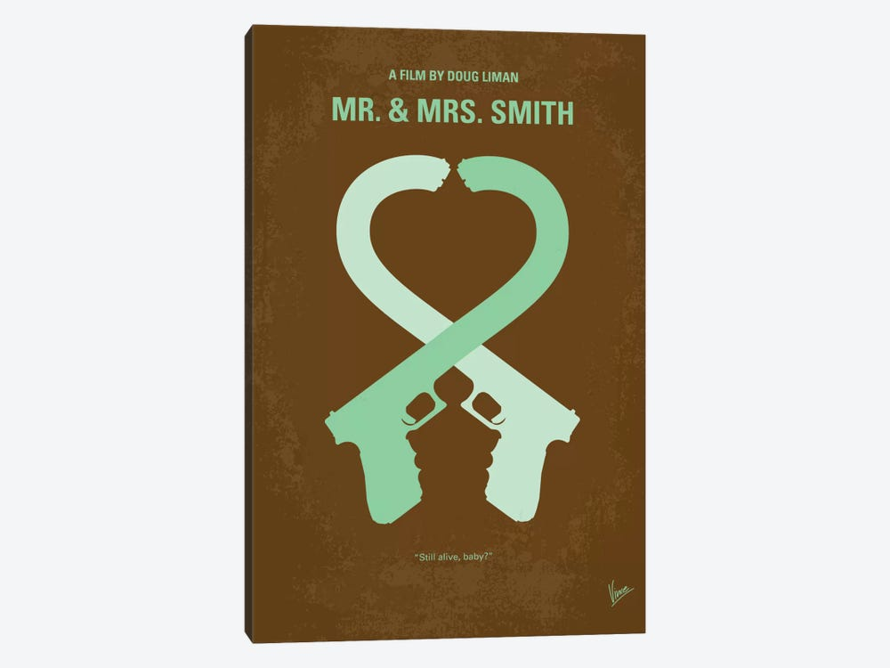 Mr. And Mrs. Smith Minimal Movie Poster by Chungkong 1-piece Canvas Art Print