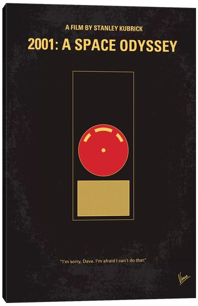 2001: A Space Odyssey Minimal Movie Poster by Chungkong - Minimalist Movie Posters Canvas Art Print