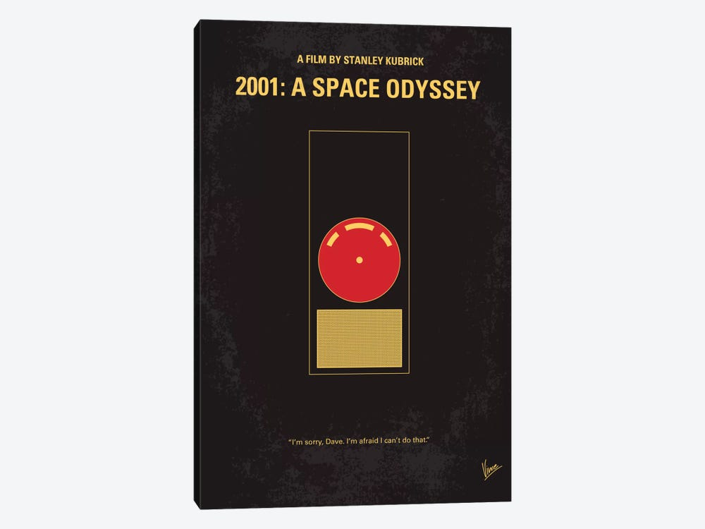2001: A Space Odyssey Minimal Movie Poster by Chungkong 1-piece Canvas Art Print