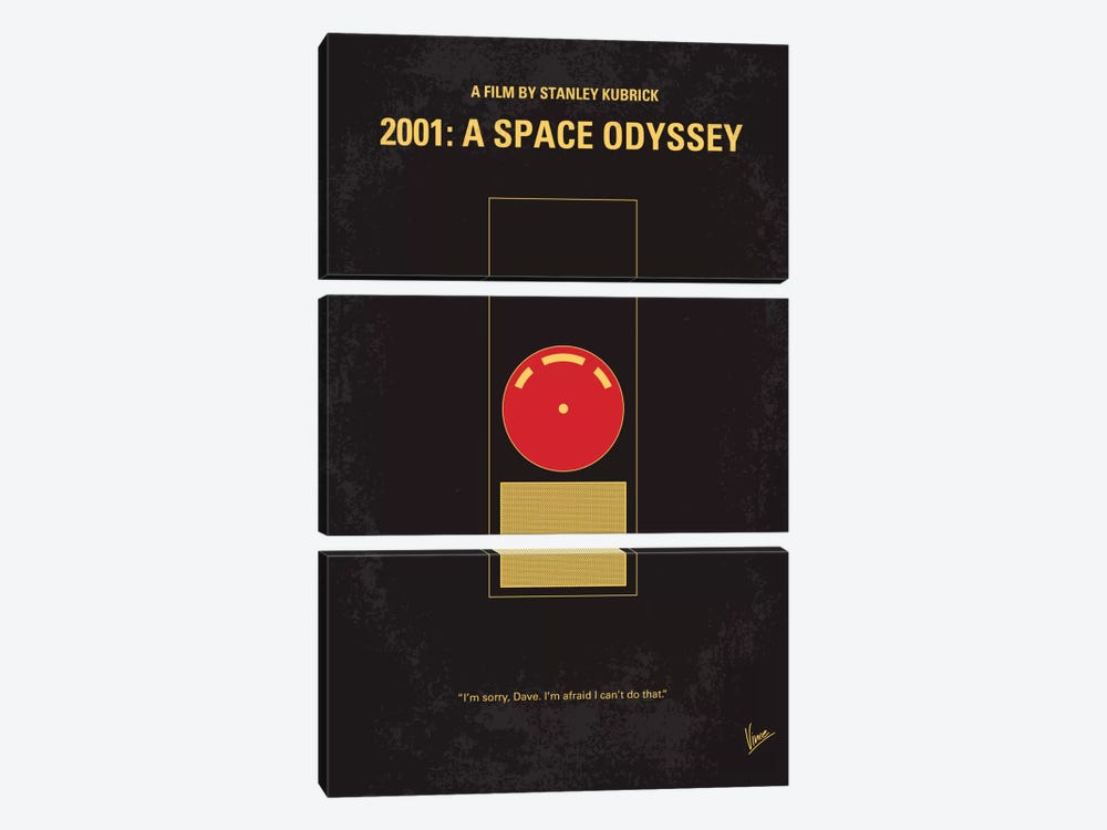 2001: A Space Odyssey Minimal Movie Poster by Chungkong 3-piece Canvas Print