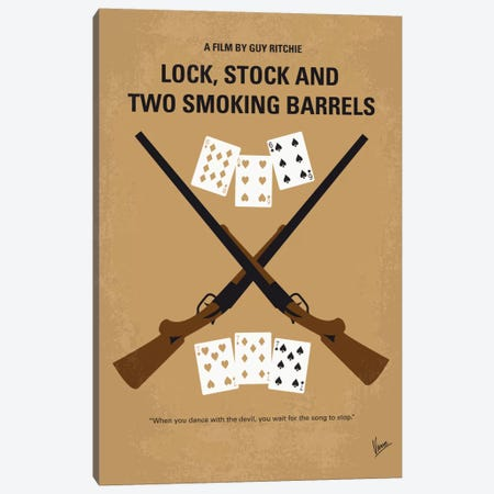 Lock, Stock And Two Smoking Barrels Minimal Movie Poster Canvas Print #CKG1} by Chungkong Canvas Art Print