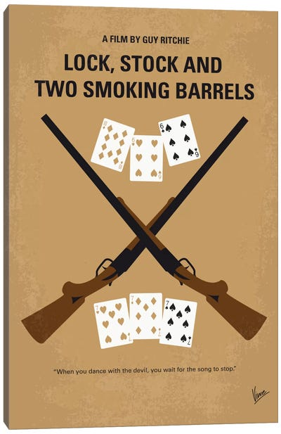 Lock, Stock And Two Smoking Barrels Minimal Movie Poster Canvas Art Print