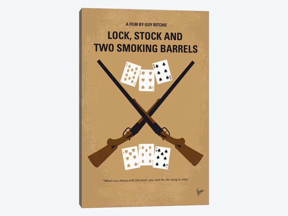 Lock, Stock And Two Smoking Barrels Minimal Movie Poster by Chungkong 1-piece Canvas Artwork