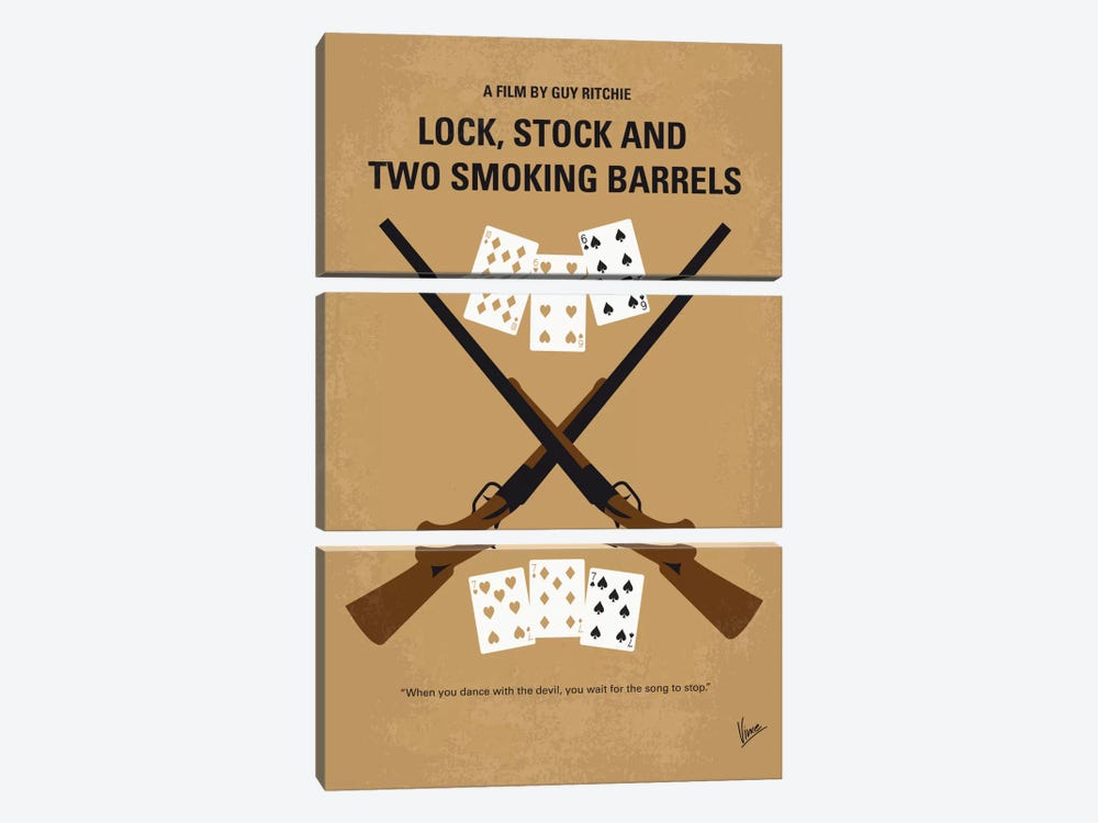 Lock, Stock And Two Smoking Barrels Minimal Movie Poster by Chungkong 3-piece Canvas Wall Art