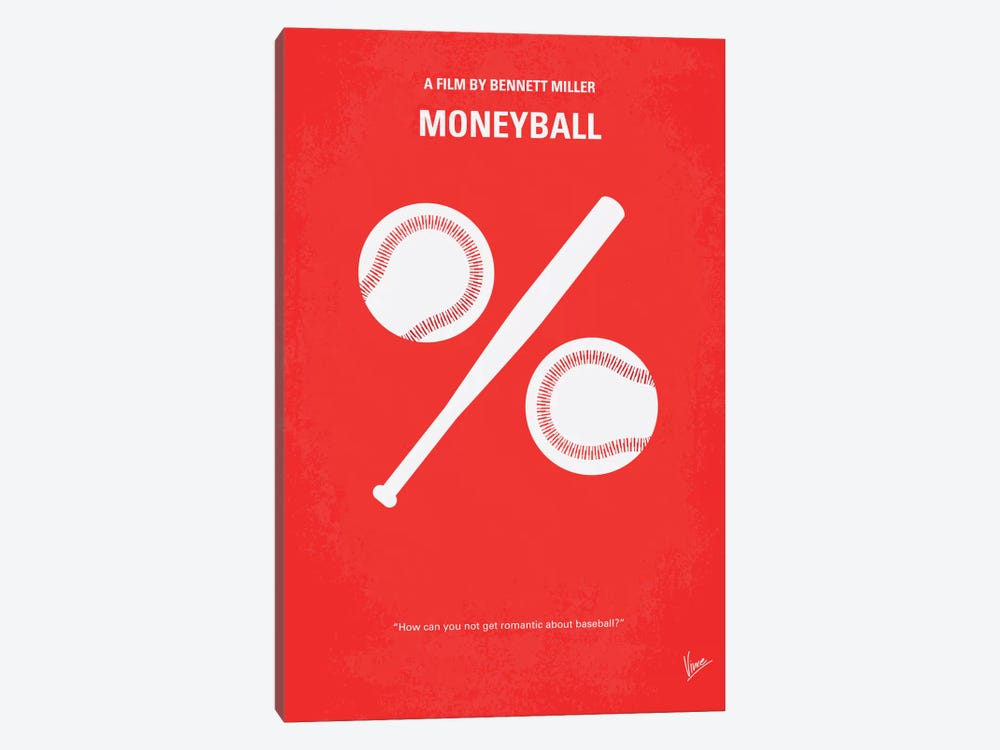 Moneyball Minimal Movie Poster by Chungkong 1-piece Canvas Art