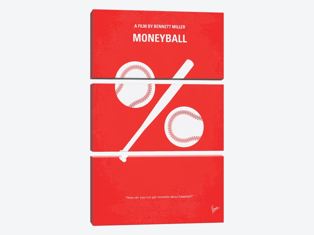 Moneyball Minimal Movie Poster 3-piece Canvas Artwork