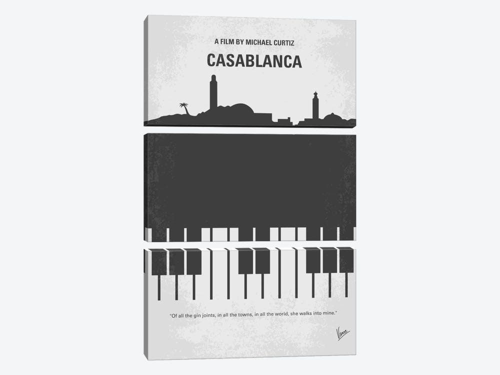 Casablanca Minimal Movie Poster by Chungkong 3-piece Canvas Print