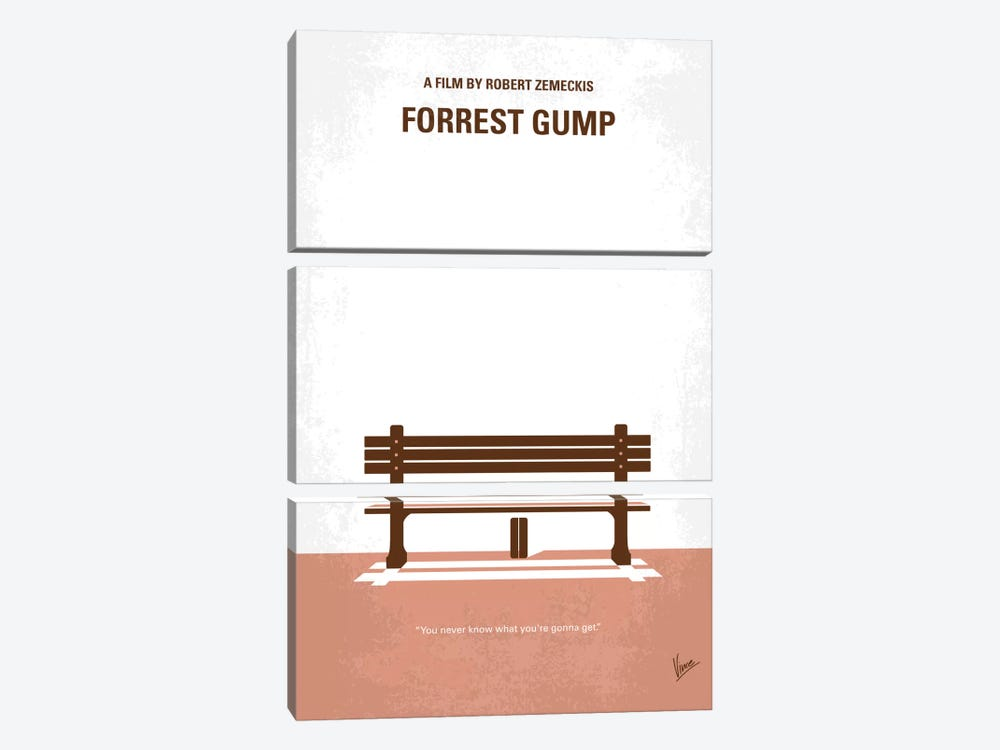 Forrest Gump Minimal Movie Poster by Chungkong 3-piece Canvas Wall Art