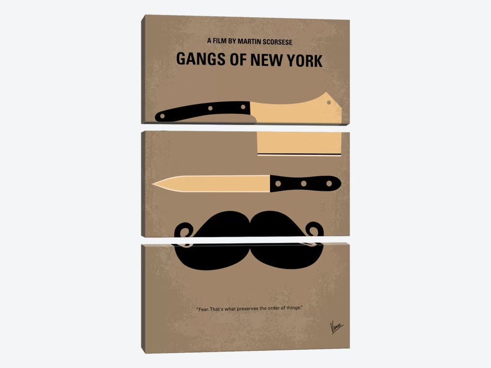 Gangs Of New York Minimal Movie Poster by Chungkong 3-piece Canvas Art