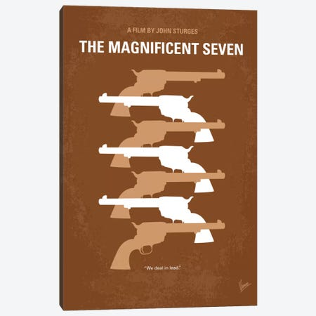 The Magnificent Seven Minimal Movie Poster Canvas Print #CKG207} by Chungkong Canvas Wall Art