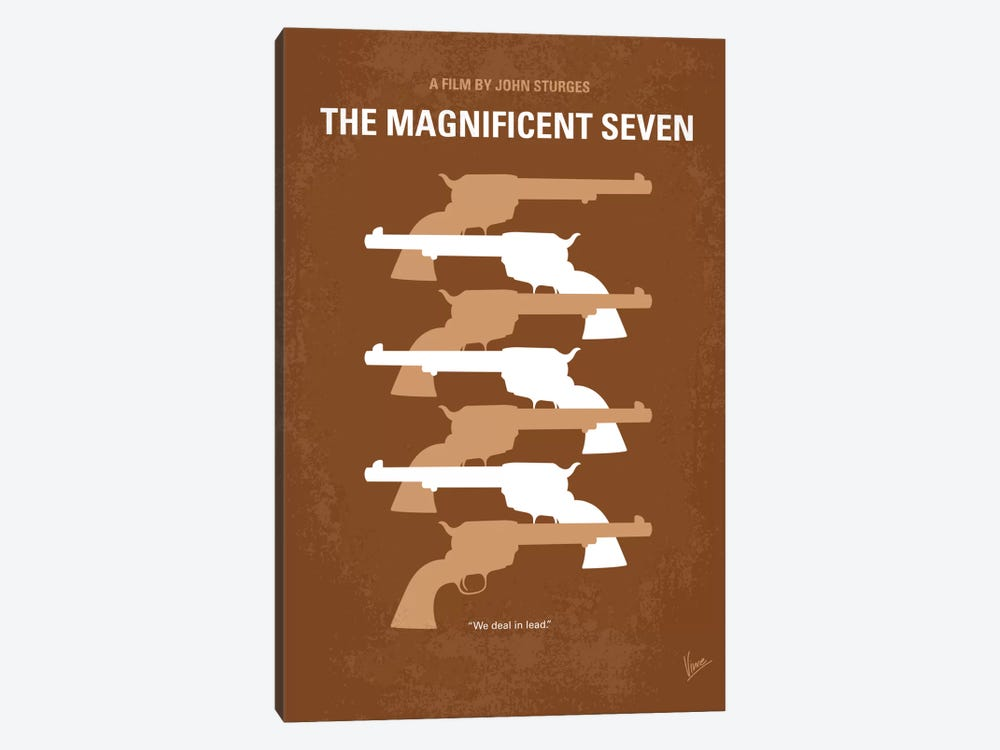 The Magnificent Seven Minimal Movie Poster by Chungkong 1-piece Canvas Print