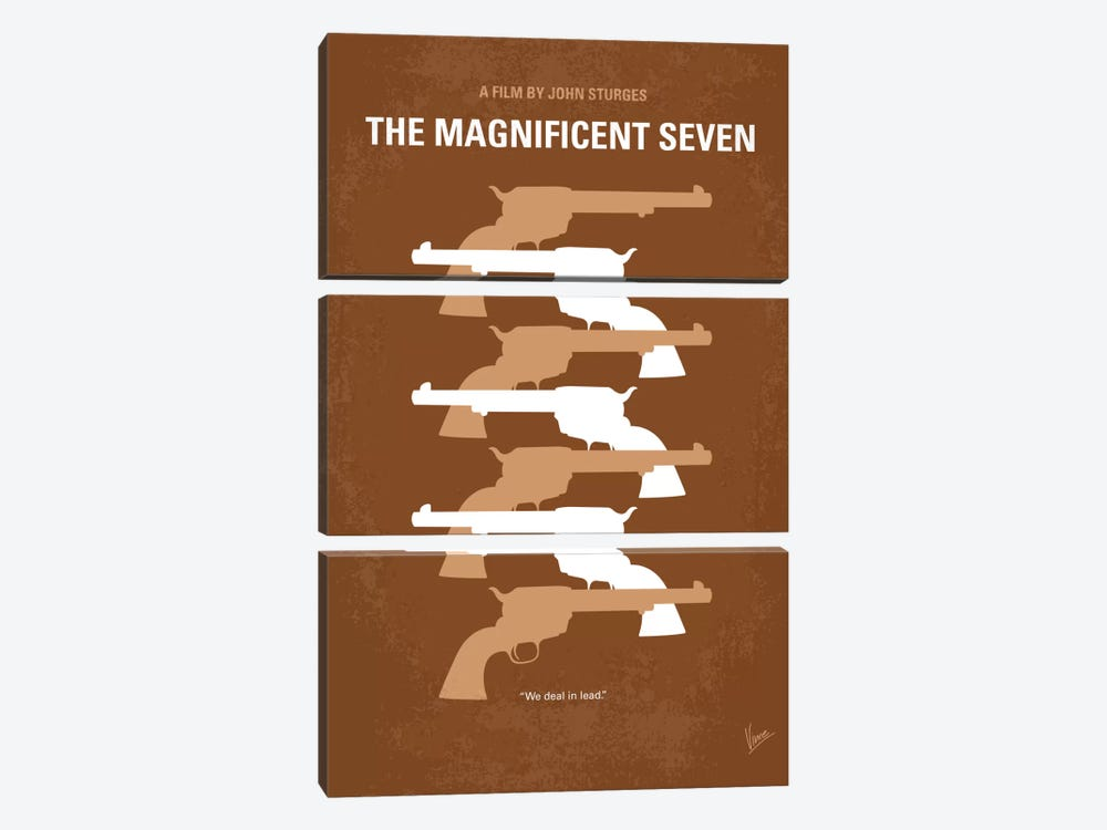The Magnificent Seven Minimal Movie Poster by Chungkong 3-piece Canvas Print