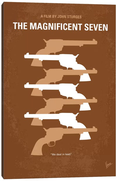 The Magnificent Seven Minimal Movie Poster Canvas Art Print