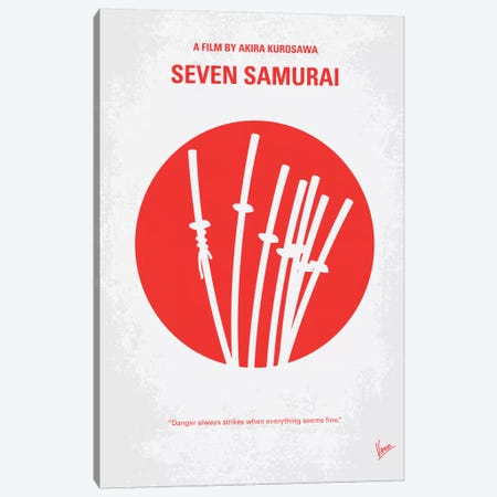 Seven Samurai Minimal Movie Poster Canvas Print #CKG210} by Chungkong Canvas Wall Art