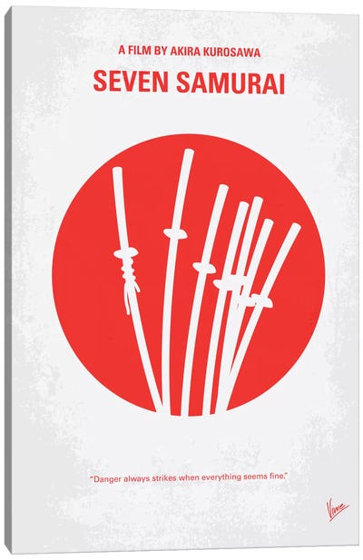 Seven Samurai Minimal Movie Poster Canvas Art Print