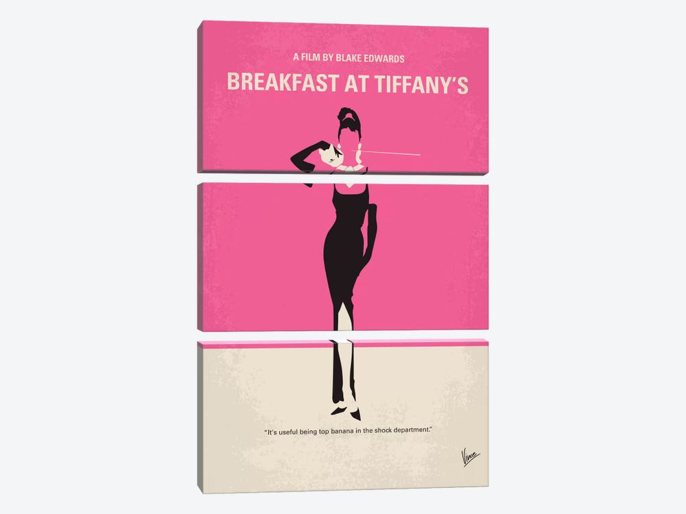 Breakfast At Tiffany's Minimal Movie Poster by Chungkong 3-piece Canvas Wall Art
