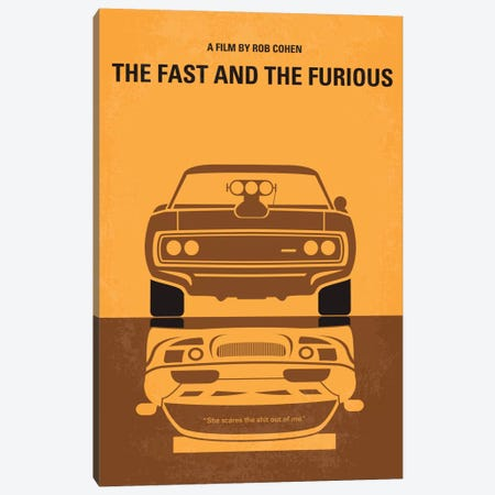 The Fast And The Furious Minimal Movie Poster Canvas Print #CKG216} by Chungkong Canvas Art Print