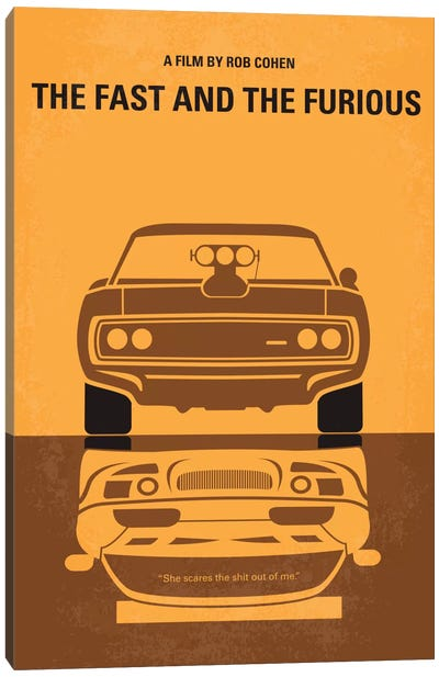 The Fast And The Furious Minimal Movie Poster Canvas Art Print