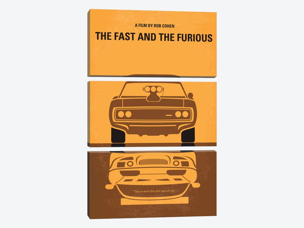 The Fast And The Furious Minimal Movie Poster by Chungkong 3-piece Canvas Art Print