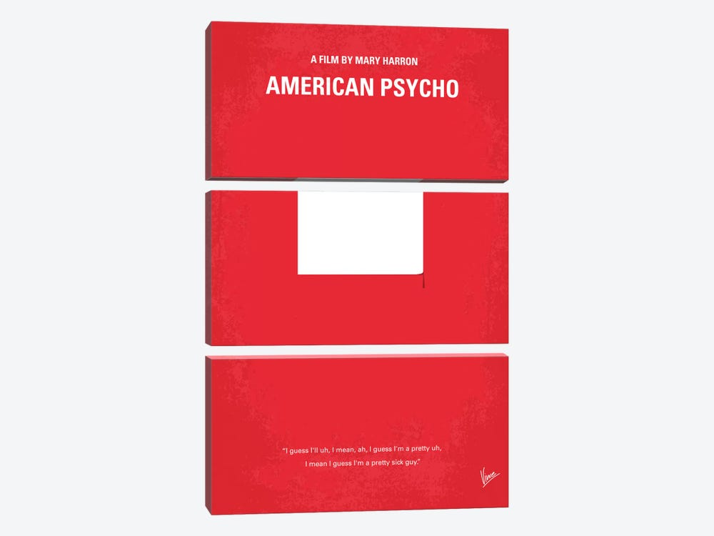 American Psycho Minimal Movie Poster by Chungkong 3-piece Canvas Wall Art