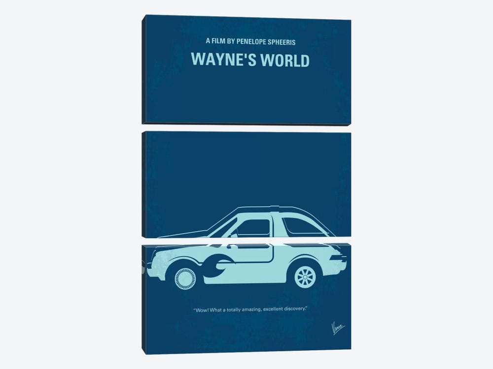 Wayne's World Minimal Movie Poster by Chungkong 3-piece Canvas Wall Art