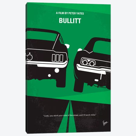 Bullitt Minimal Movie Poster Canvas Print #CKG223} by Chungkong Canvas Art Print
