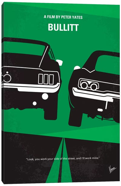 Bullitt Minimal Movie Poster Canvas Art Print
