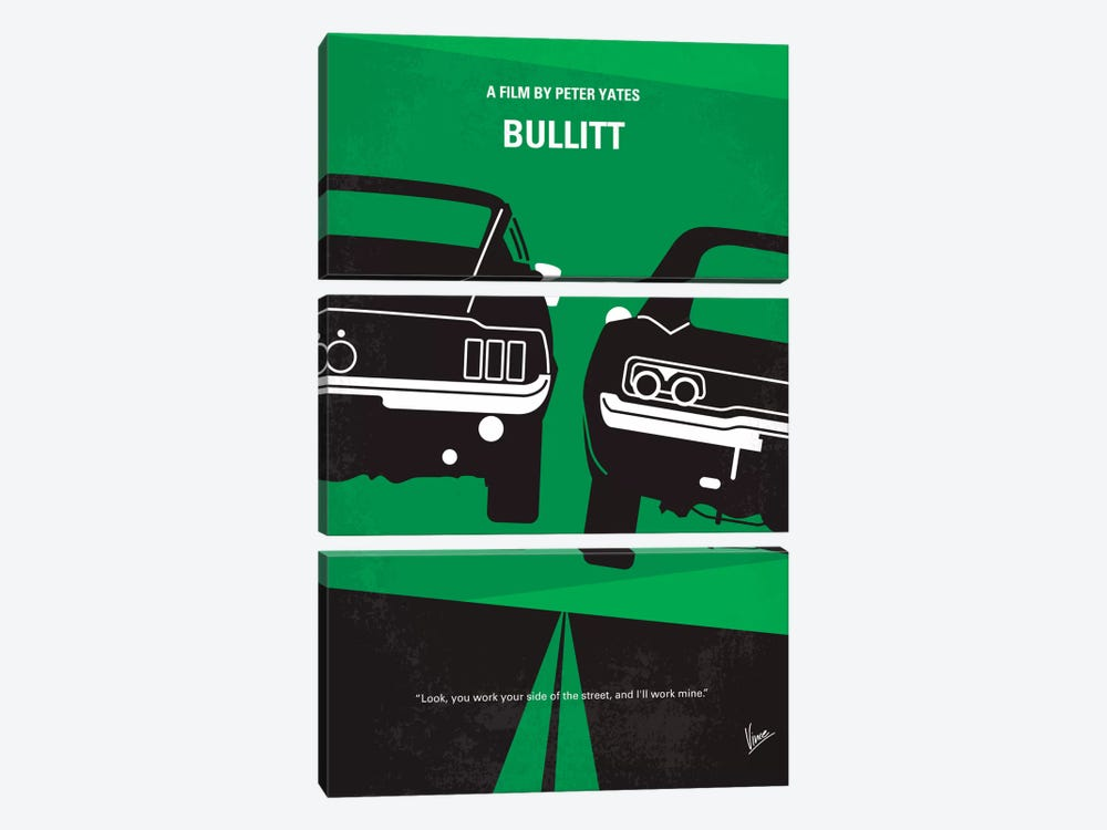 Bullitt Minimal Movie Poster by Chungkong 3-piece Canvas Art Print