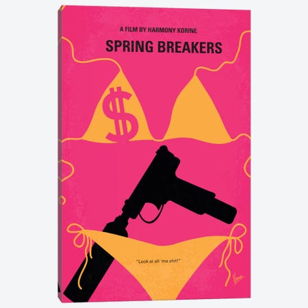 Spring Breakers Minimal Movie Poster Canvas Print #CKG227} by Chungkong Canvas Art