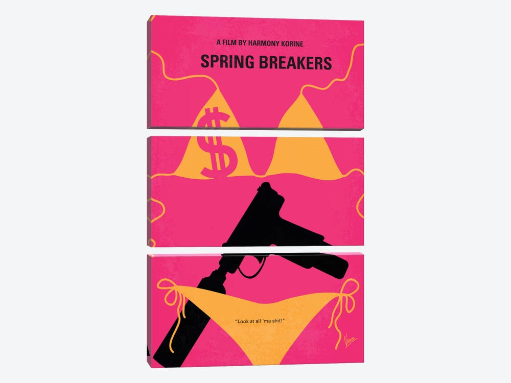 Spring Breakers Minimal Movie Poster by Chungkong 3-piece Canvas Print