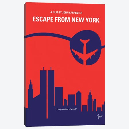Escape From New York Minimal Movie Poster Canvas Print #CKG228} by Chungkong Canvas Print